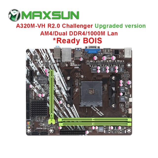 MAXSUN AM4 Challenger A320M VH R2.0 AMD เมนบอร์ด MATX Dual Channel DDR4 1000M LAN SATA3.0 USB3.1 VGA HDMI 5 เฟส mainb