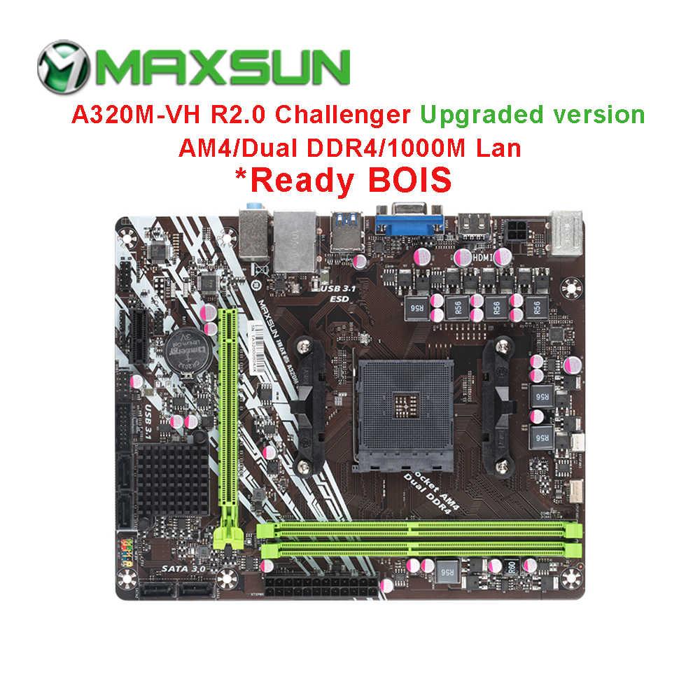 Maxsun AM4 Challenger A320M-VH R2.0 AMD Bo Mạch Chủ MATX Kênh Đôi DDR4 1000M LAN SATA3.0 USB3.1 VGA HDMI 5 Pha Mainb