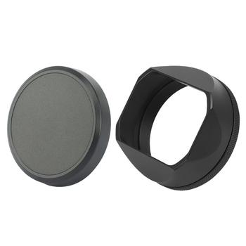 Haoge LH-X54B Square Metal Lens Hood with 49mm Adapter Ring and cap for Fujifilm Fuji  X100V X100F X100T X100S X100 X70 Black