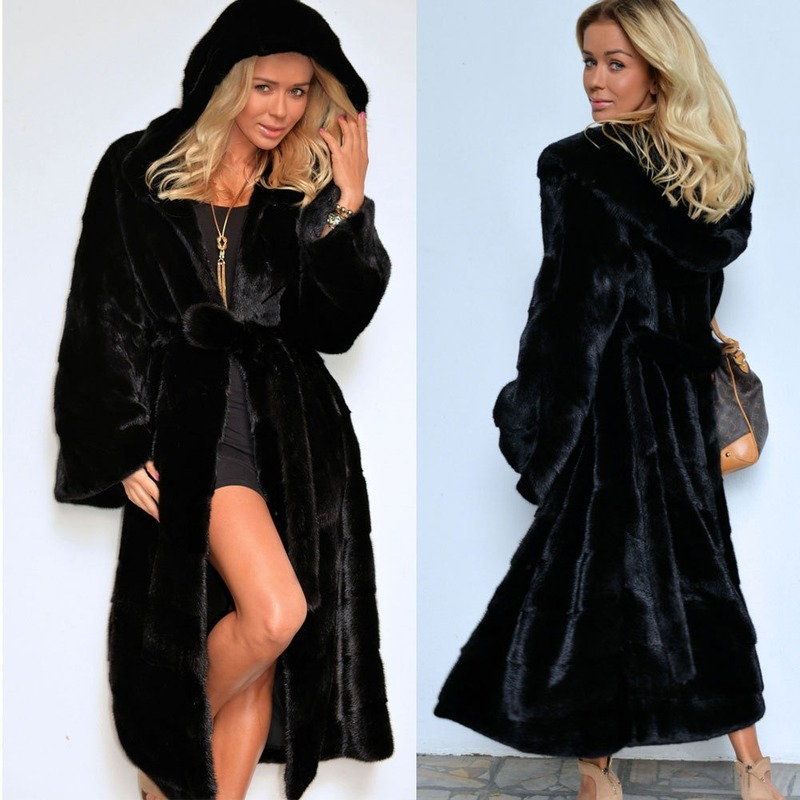 Autumn Winter New Artificial Faux Fur Coat Hooded Cotton Padded Long Plush Coat Female Coat  Women Clothing Lace-up Black Coat