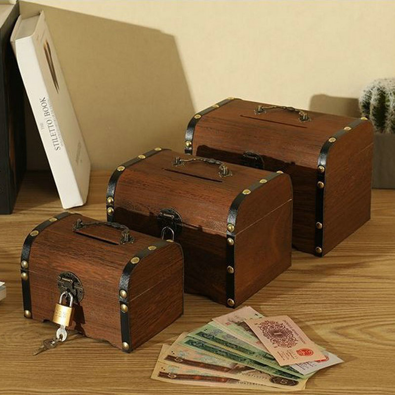 Pirate Treasure Box Children Small Change Saving Bank Vintage Wooden Coins Box Creative Money Saving Props For Gifts