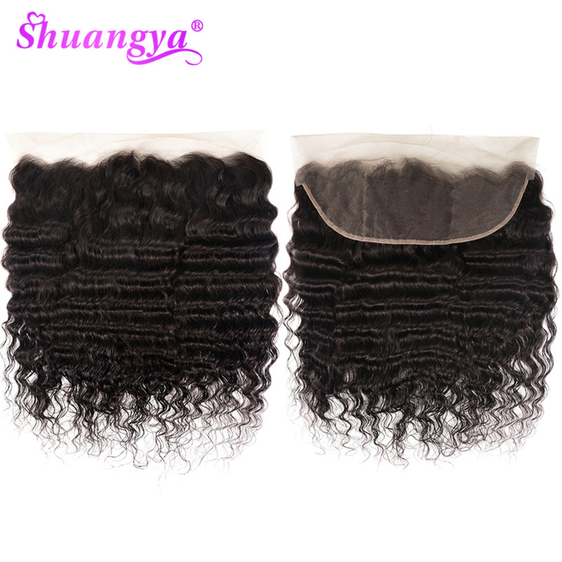 Shuangya Hair 13x4 Lace Frontal Closure Brazilian Loose Deep Wave Frontal  Remy Hair Human Hair Frontal 8-20 Inch Natural Color