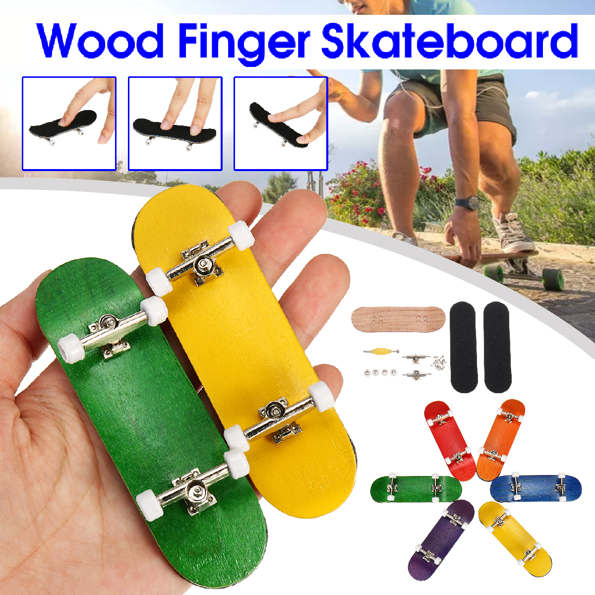 Kids Children Adult Toy Wood Fingerboard Finger Skateboard Basic Complete Skate Board Bearing Wheel Nuts