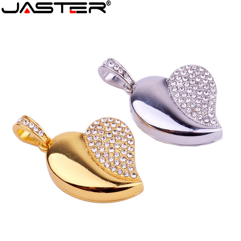 JASTER Crystal Diamond Love Heart With Chain Usb Flash Drive Pendrive 4GB 16GB 32GB 64GB Necklace Heart Shape Memory Stick Gift