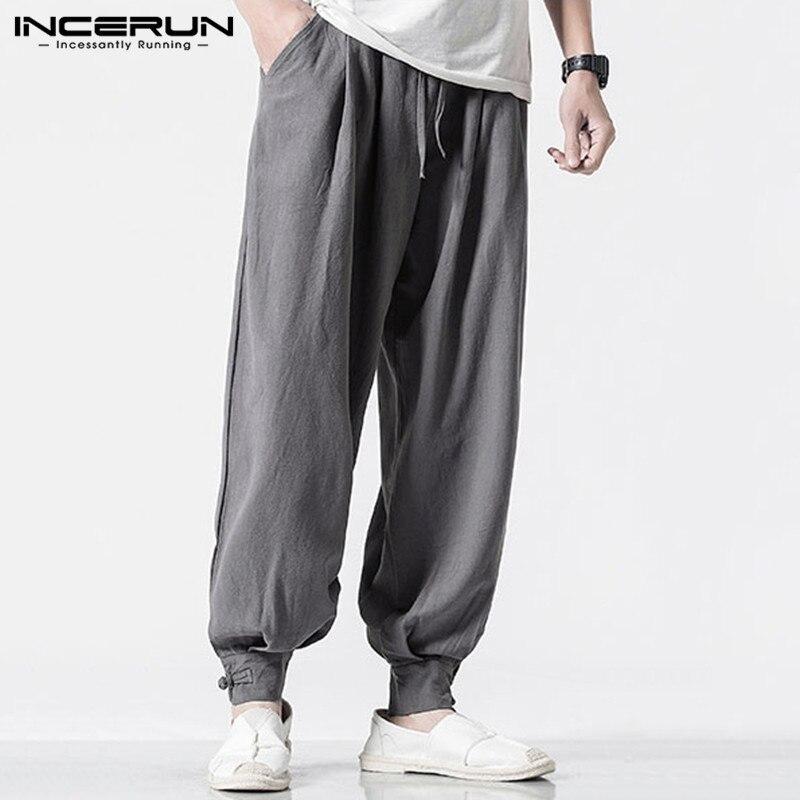 INCERUN 2020 Men Harem Pants Solid Casual Baggy Cotton Trousers Fashion Joker Elastic Waist Mens Sweatpants Joggers Streetwear