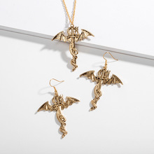 цена на Gold Color Winged Dragon Fly Sword Pendant Necklace Dragon Earrings High Quality fashion Pedant For Man Women Best Gift