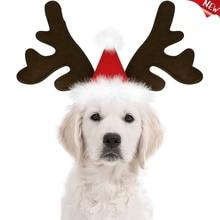 Christmas Reindeer Antlers Dog Hat Adjustable Elastic Strap Headband Classic Headwear Party Pet Costumes Accessories