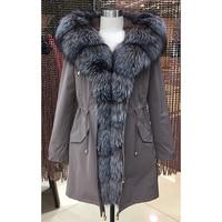 Women winter parka coat jacket fox raccoon collar detachable rabbit fur liner classic 93cm length quality fabric 16079 D02