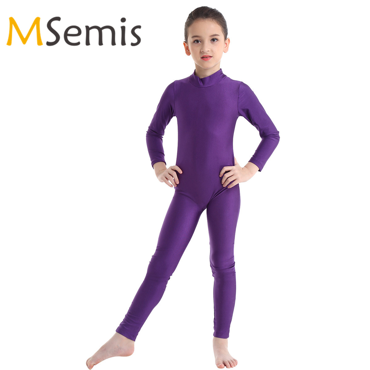 Kids Girls Gymnastics Swimsuit For Dancing Long Sleeves Zippered Ballet Dance Leotard Mesh Bodysuit Jumpsuit Unitard Dancewear