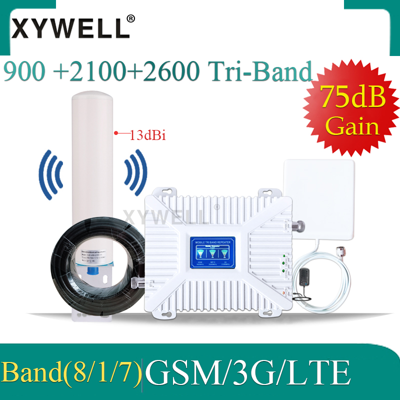 Gsm Signal Booster 900 2100 2600mhz Gsm Signal Repeater 2G 3G 4G GSM UMTS LTE Tri Band Mobile Signal Booster GSM 3g 4g Amplifier