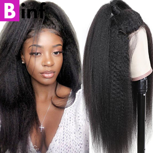 360 Lace Frontal Wig Kinky Straight Indian Remy Human Hair Wigs Pre-Plucked Hairline With Baby Hair Hot Sale For Black Women(China)