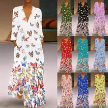 10 Colors Women Butterfly Print Dress 3/4 Sleeve Casual Loose Party Long  Plus Size 5XL