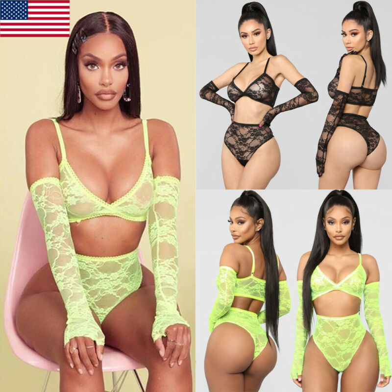 US Women Underwear Bra Sexy Lingerie G-string Nightwear Lace Clothes Set Fashion
