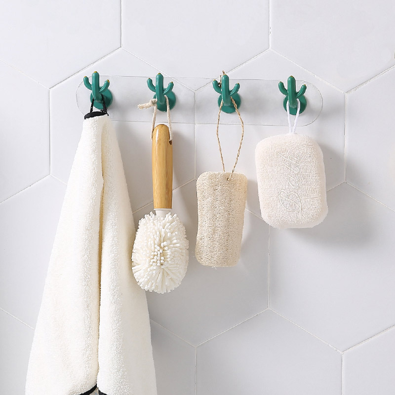ABS Nordic Style Cactus Shaped Key Holder Wall Hook For Key Coat Hat Kitchen Cup Towel Brush Wall Hook Bathroom Key Hanger Hooks