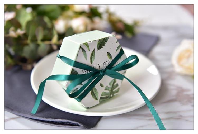 100 pièces nouveau vert forêt style créatif marbrure mariage cadeau boîte diamant forme boîte faveurs de mariage et cadeaux merci boîte-cadeau.