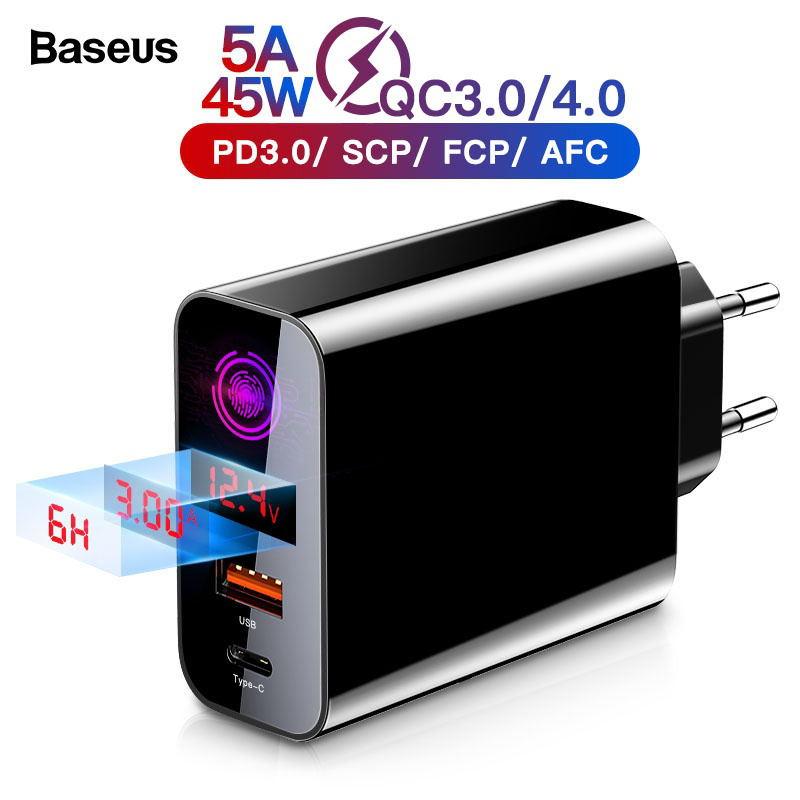 Baseus carga rápida 4.0 3.0 carregador usb para iphone 11 pro max samsung huawei scp qc4.0 qc3.0 qc c pd rápido carregador de telefone móvel
