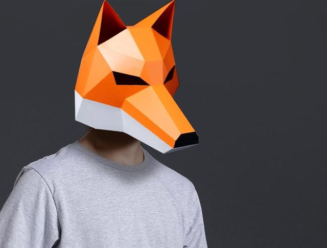 3D Cut Free Paper Mask Fox Animal Halloween Christmas Costume Cosplay DIY Paper Craft Model Kit 1
