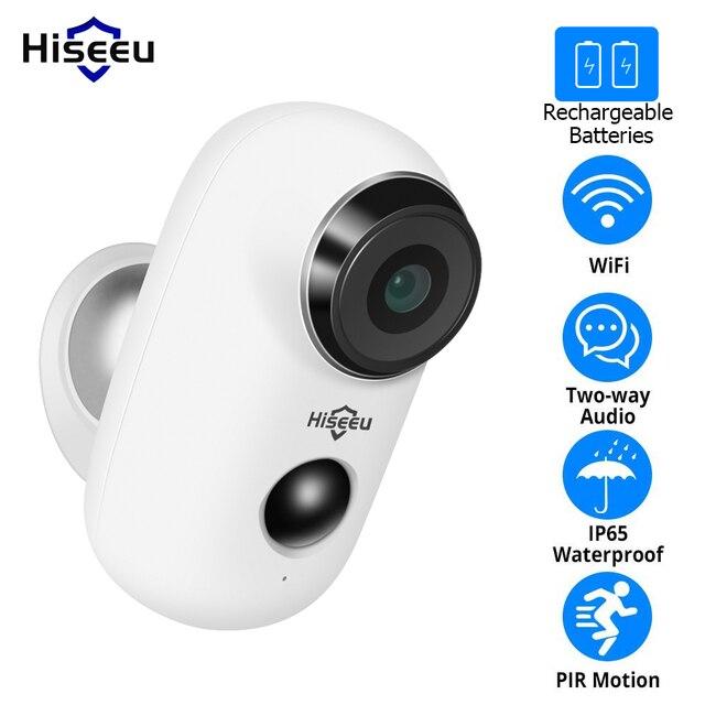 Hiseeu 1080P Wireless Battery IP Camera WiFi Rechargeable 2MP Outdoor Security Video Surveillance Camera Waterproof PIR Motion