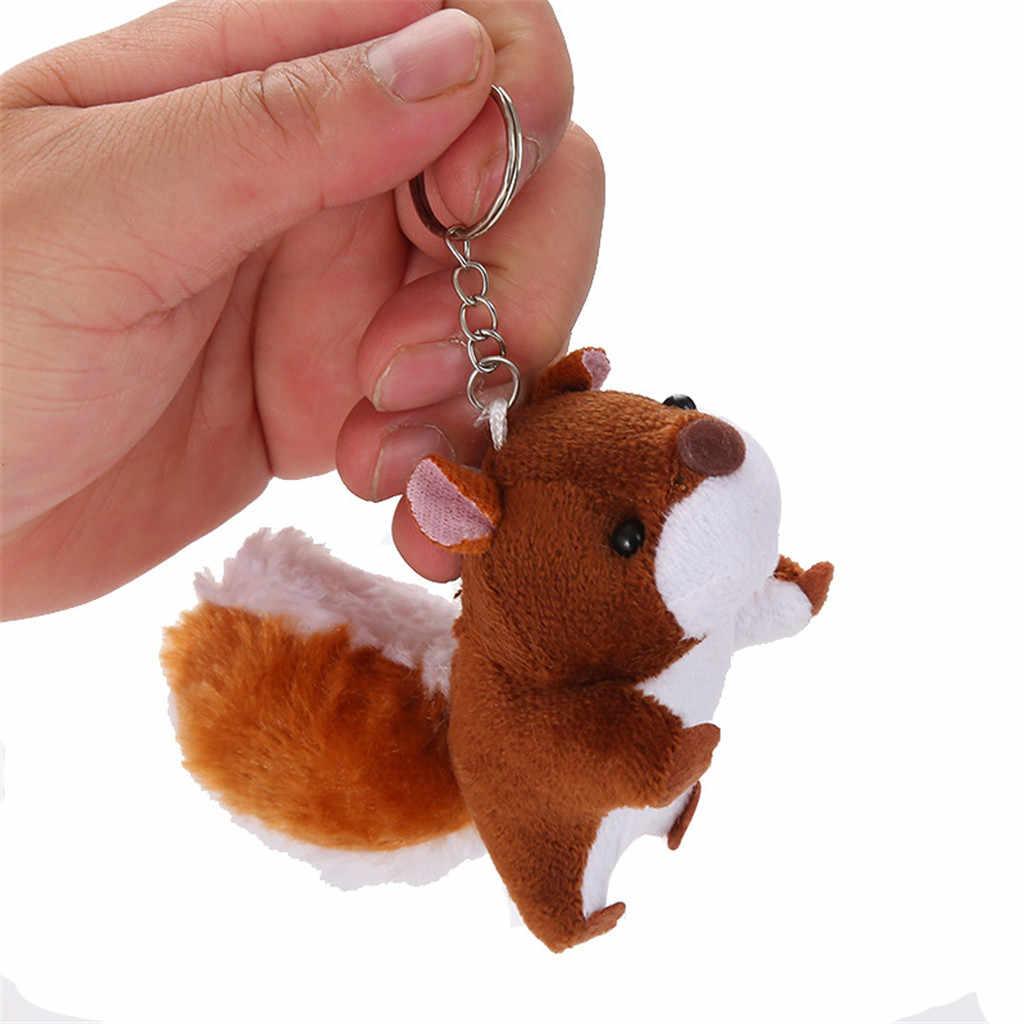 น่ารักการ์ตูนสัตว์ตุ๊กตาของเล่นพวงกุญแจกระรอกกระเป๋าเป้สะพายหลังกระเป๋าอุปกรณ์เสริม Kawaii พวงกุญแจจี้ตุ๊กตาตุ๊กตาของเล่นสำหรับของขวัญเด็ก