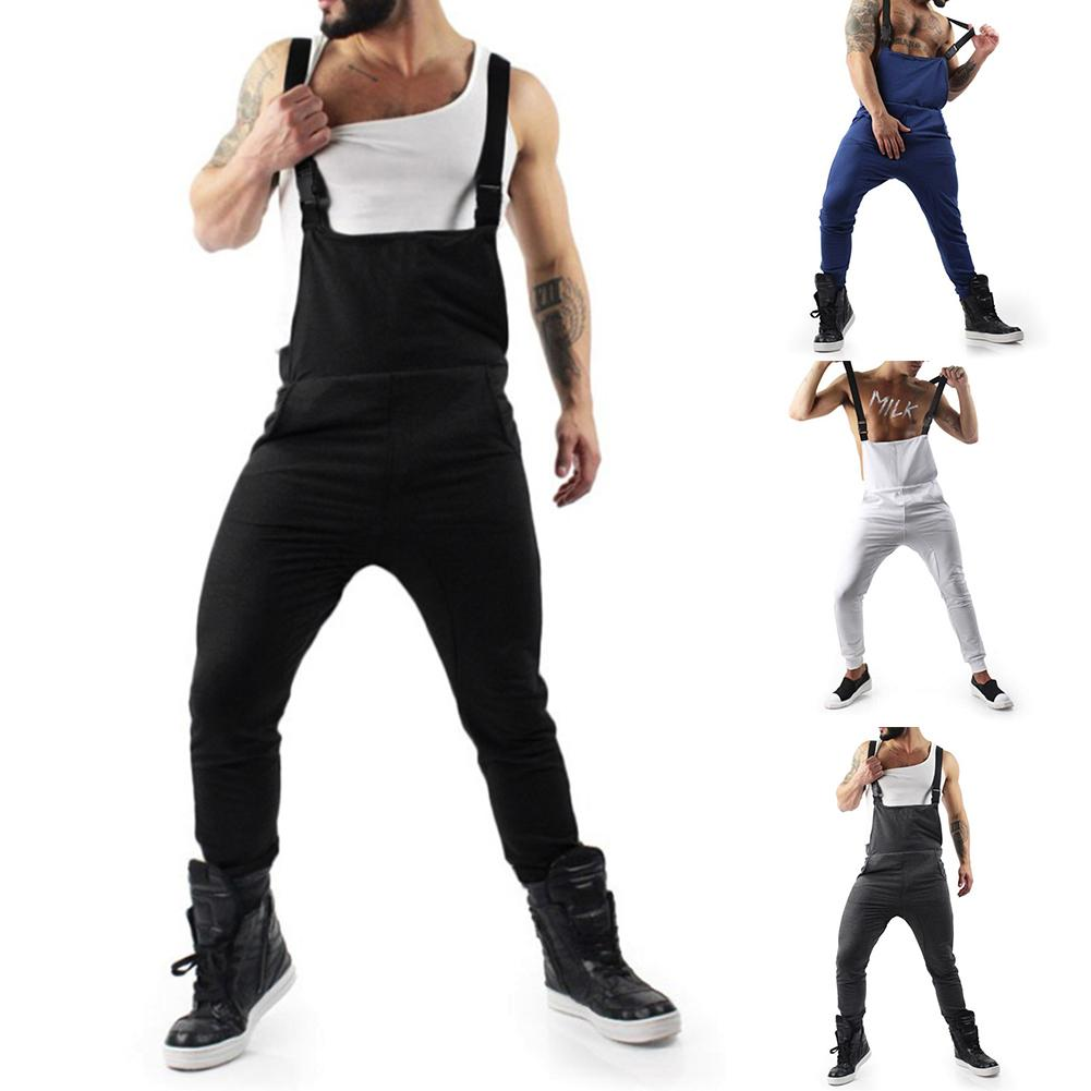 Autumn Fashion Men Long Pants Jumpsuits Street Overalls Mens Suspender Pants Casual Solid Sleeveless Overalls Jumpsuits
