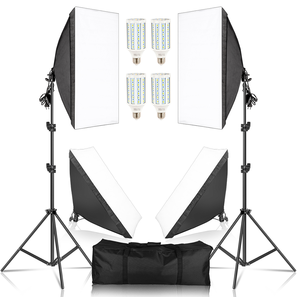 SH 50x70CM Photography Studio Softbox Lighting Kit With 4pcs LED Bulb Soft Box Camera Accessories Set For Photo Studio Lights