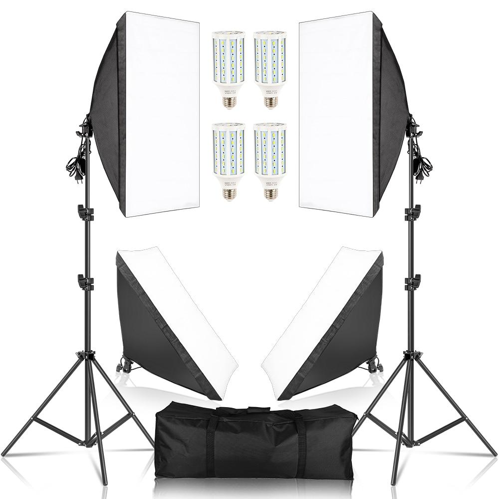 SH 50x70CM Photography Studio Softbox Lighting kit With 4pcs LED Bulb Soft Box Camera Accessories Set For Photo Studio Lights