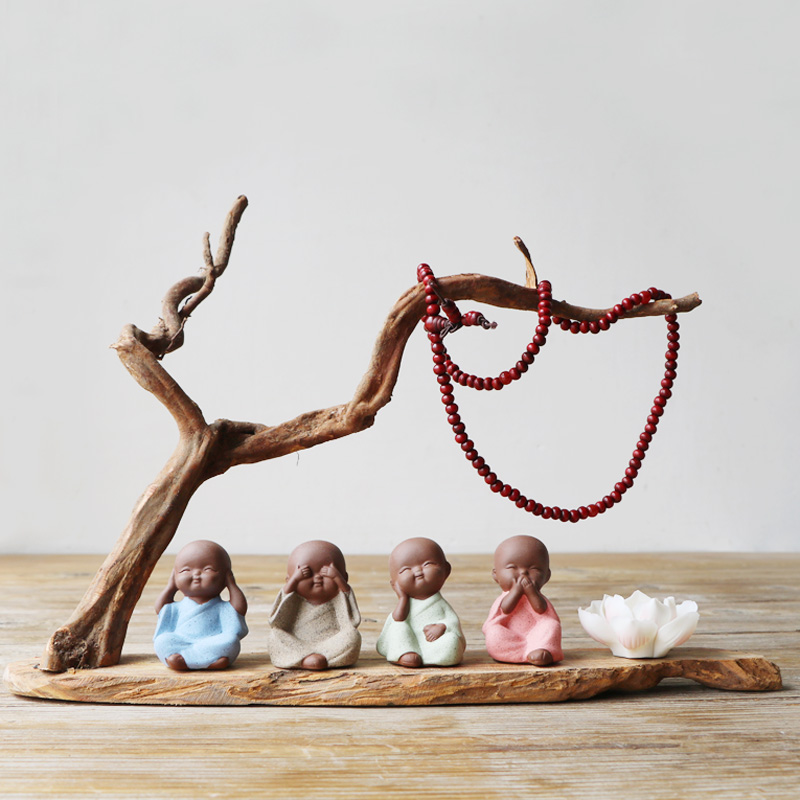 Créatif nouveau chinois petit moine Zisha maison souche bijoux service à thé accessoires thé décoration pour animaux de compagnie boutique cadeau intéressant C1209