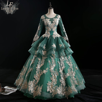 100%real green embroidery beading rococo ball gown long dress vintage medieval dress Renaissance princess Victoria dress
