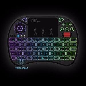 Image 4 - Rii X8 + 2.4ghzのミニワイヤレスキーボードとタッチパッド音声検索ledバックライト充電式リチウムイオン電池用ボックスpc
