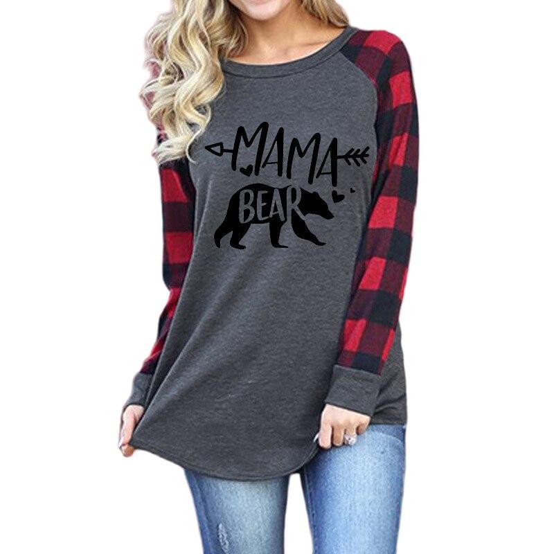 Новые осенние женские футболки, топы в клетку с длинными рукавами и надписью на тему Рождества с надписью «Мама и Медведь»