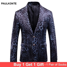 PAULKONTE 2019 New Leopard Print Mostly Male Blazer Suit Top High Quality Nightclub Party Wedding Slim Fit Mans Jacket