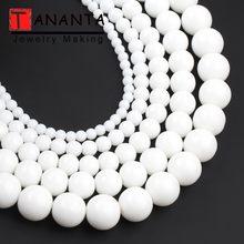 Koraliki z naturalnego kamienia białe agaty okrągłe luźne koraliki Tridacna do tworzenia biżuterii bransoletka typu charm diy naszyjnik 4 6 8 10 12mm 15 inch