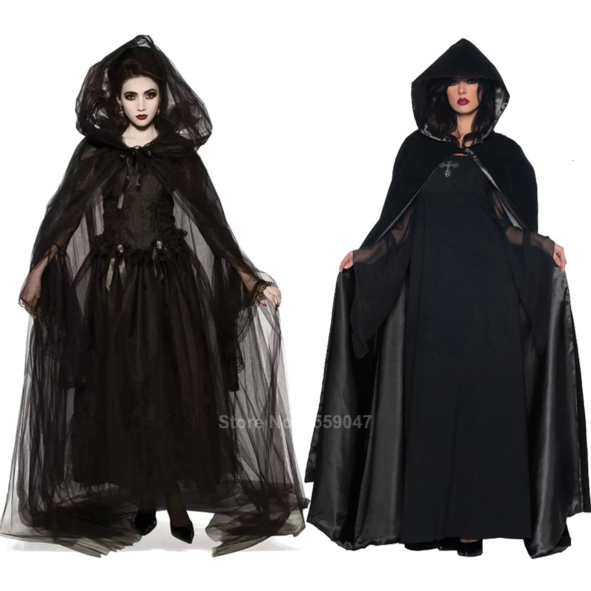 137CM Deluxe Cape Vampire Fancy Dress Gothic Witch Cloak Costume Adult Halloween