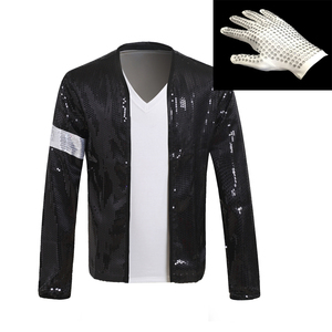 MJ Michael Jackson Billie Jean Coat Black Sequin Armband Jacket And Glove Outwear Hallowmas Party Costume Cosplay Prop 1BLJD0211(China)