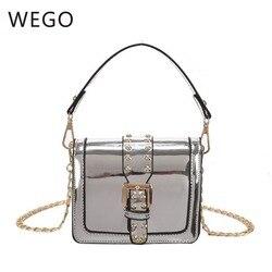 2019 nova corrente brilhante portátil saco do mensageiro moda rebite design ins meninas romance quadrado fivela magnética pacote