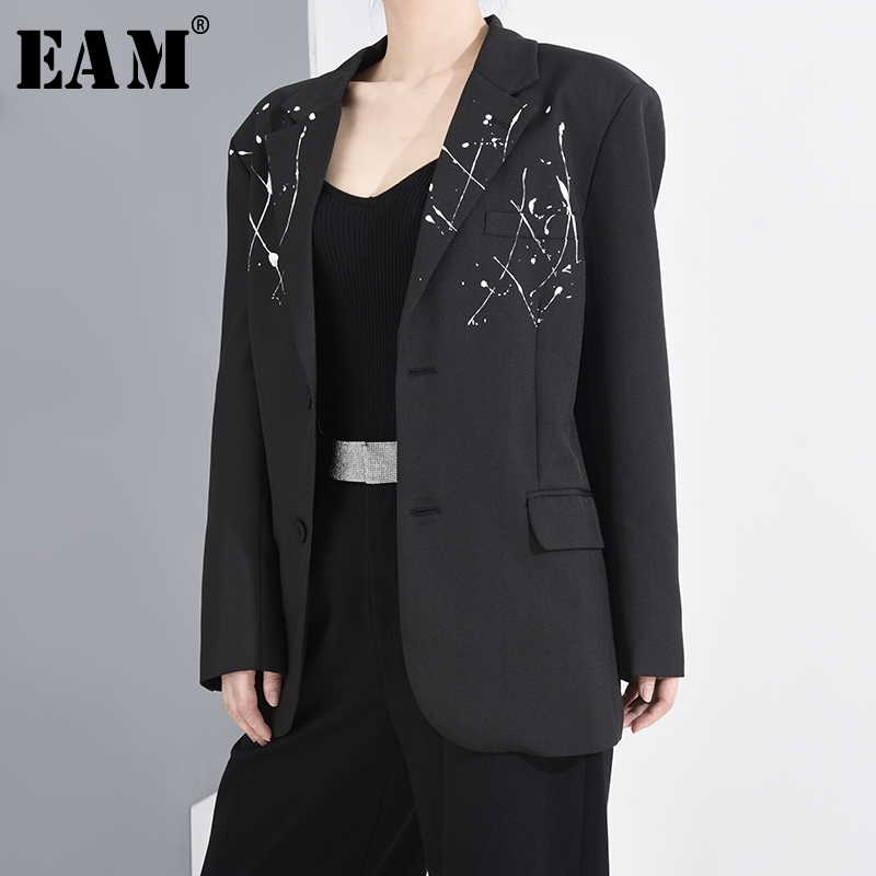 [EAM]  Women Black Pattern Printed Big Size Blazer New Lapel Long Sleeve Loose Fit  Jacket Fashion Spring Autumn 2020 1T73901