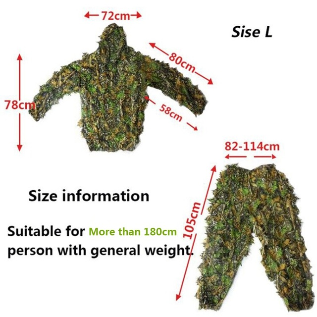 Men Women Kids Outdoor Ghillie Suit Camouflage Clothes Jungle Suit CS Training Leaves Clothing Hunting Suit Pants Hooded Jacket 6