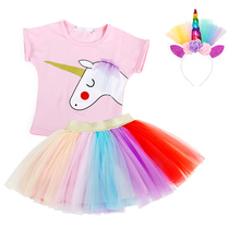 AmzBarley 2pcs Little Girls clothes set Unicorn Cotton Tops colorful tutu skirt Toddler T shirt outfit kids summer clothing set kids toddler girl summer clothing set ruffle off shoulder t shirt top bow skirt tutu dress stripe baby clothes outfit