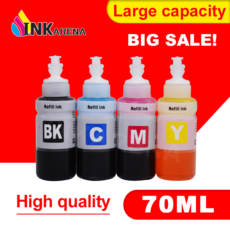 INKARENA 4colors × 70ml Bottle Refill Ink Kit Compatible Ink for <font><b>Printer</b></font> <font><b>Epson</b></font> L100 L110 L132 <font><b>L200</b></font> L210 L222 L300 L362 L366 L550 image