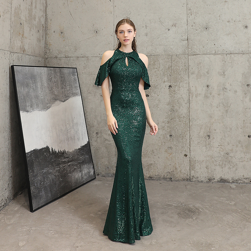 Elegant Dark Green Evening Dress Sequin Formal Evening Gown Burgundy Long Party Dresses Women Evening Occasion Dresses For Women