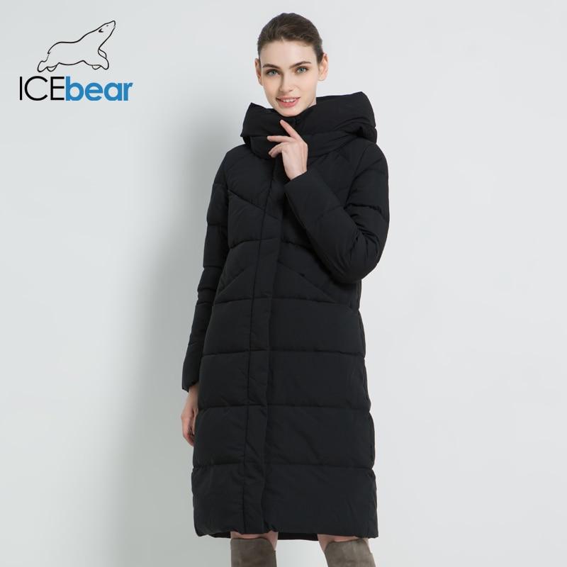 ICEbear, новинка 2019, женская модная брендовая парка, зимняя куртка, простой дизайн с манжетами, ветрозащитное теплое Женское пальто высокого ка...