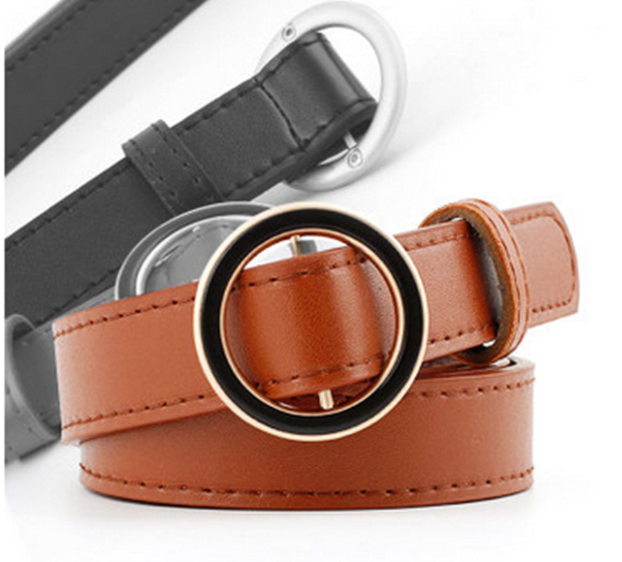 Creative Belt Women Fashion Decoration Ladies New Round Buckle Black Circle Fashion Casual Belt Solid Color