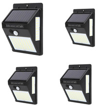 4pcs 100 LED Solar Lights Outdoor PIR Motion Sensor Light Powered Lamps Garden Decoration Waterproof Path Wall