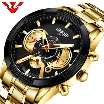 цена на NIBOSI Relogio Masculino Fashion Mens Watches Top Brand Luxury Wrist Watch Quartz Clock Gold Watch Men Waterproof Chronograph