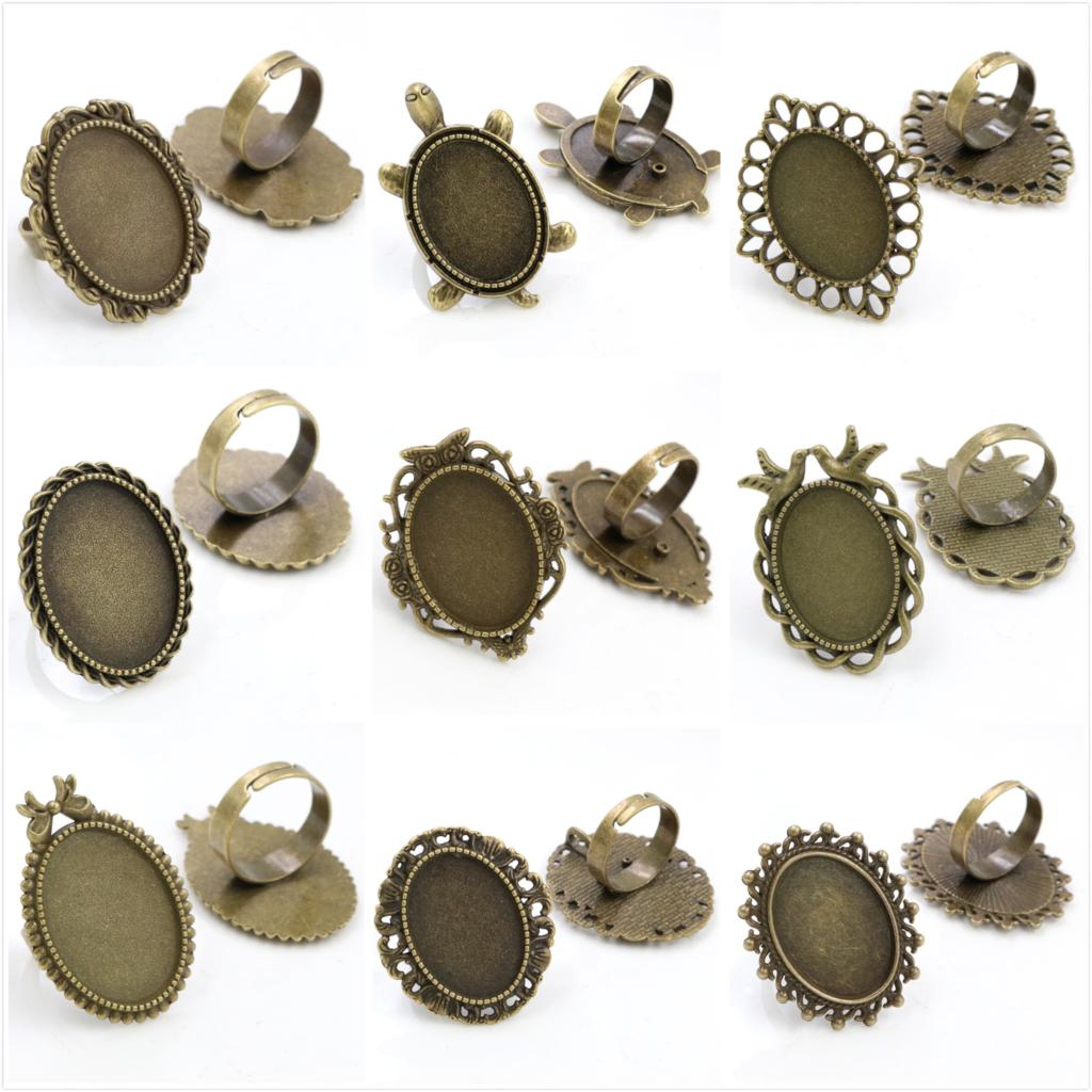 18x25mm 5pcs Antique Bronze Plated 9 Style  Brass Oval Adjustable Ring Settings Blank/Base,Fit 18x25mm Glass Cabochons