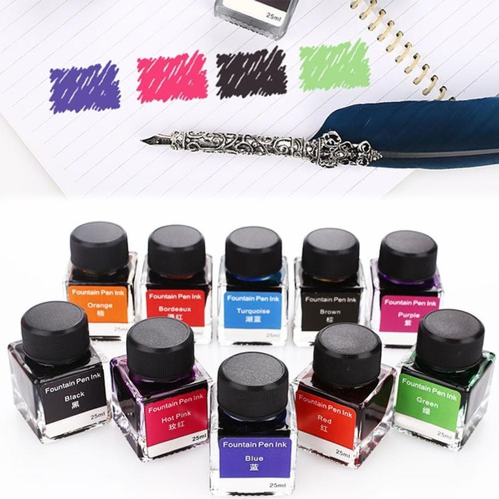 10 Colorful Ink Fountain Non-Carbon InkPen Ink Glass 25ml Graffiti Writing Stationery Creative School Supplies Drawing