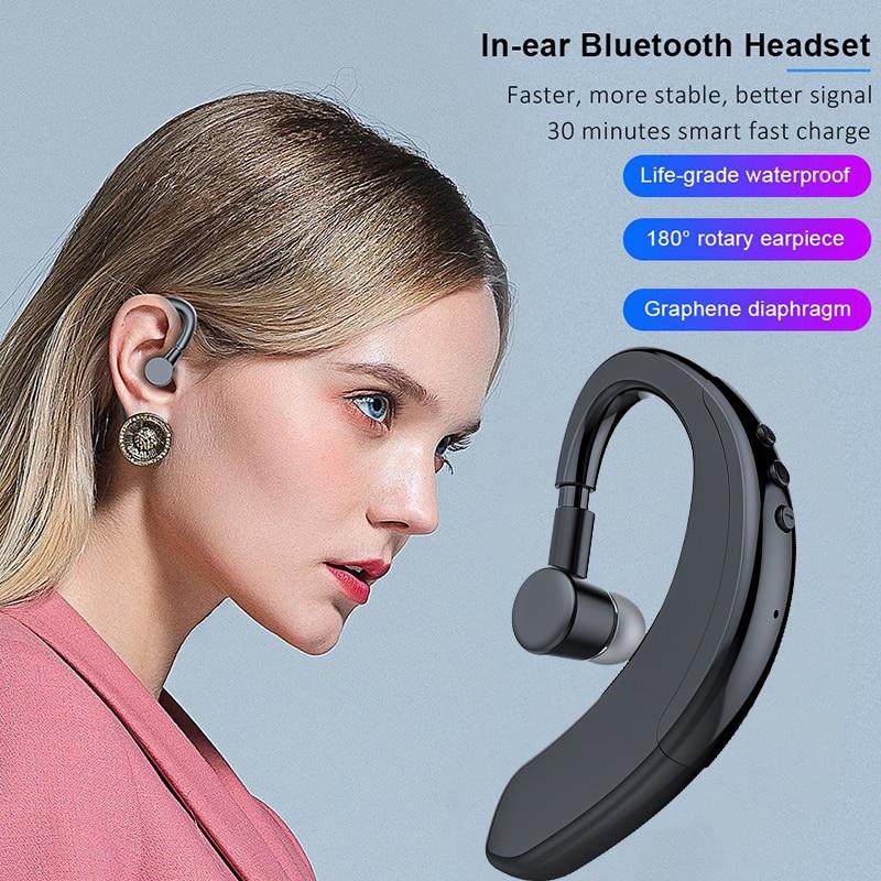 Wireless Bluetooth 5.0 Earphones Stereo Ear Hook Sports Headset Handsfree With Microphone Business Driving Headphones