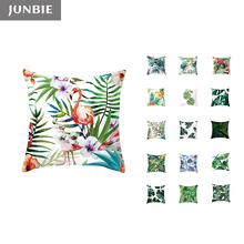 JUNBIE Tropical Plant Print Throw Pillow Covers Leaves Decorative Pillowcases Cushion Covers for Sofa Cafe Seat