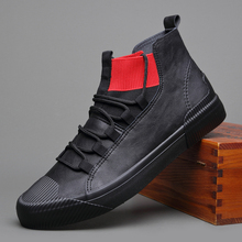 New Hot sale fashion male casual shoes high top lace up Men's leather casual Sneakers fashion Black GRAY flats shoes A21-89