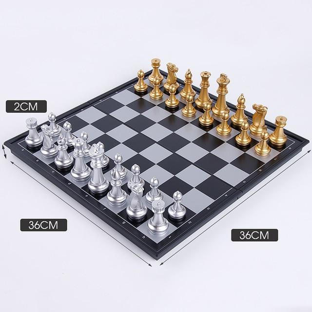 1 jeu de dames magnétiques pliables or, argent, noir et blanc, cartes d'échecs de divertissement, jouet d'échecs YJN 4
